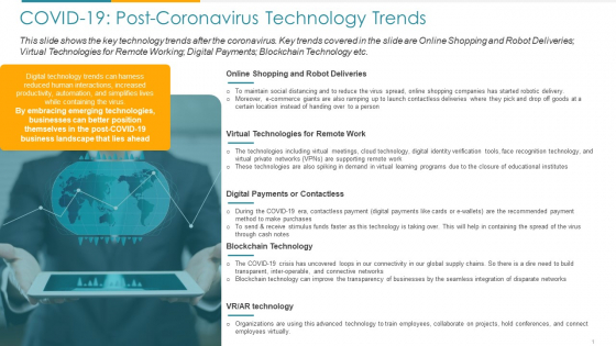 COVID Business COVID 19 Post Coronavirus Technology Trends Ppt Pictures Model PDF