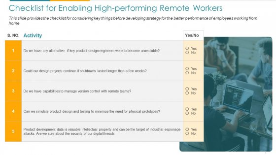 COVID Business Checklist For Enabling High Performing Remote Workers Ppt Pictures Structure PDF
