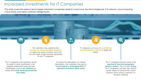 COVID Business Survive Adapt And Post Recovery For Tech Industry Increased Investments For It Companies Ppt Icon Files PDF