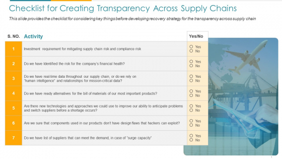 COVID Checklist For Creating Transparency Across Supply Chains Ppt Infographics Graphics PDF