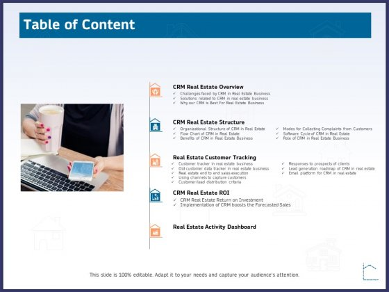 CRM Activities For Real Estate Table Of Content Ppt Inspiration Professional PDF