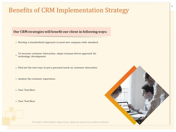 CRM Consulting Benefits Of CRM Implementation Strategy Ppt Slides Layouts PDF