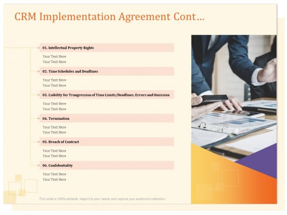 CRM Consulting CRM Implementation Agreement Cont Ppt Gallery Sample PDF