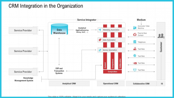 CRM Integration In The Organization Ppt Model Gridlines PDF