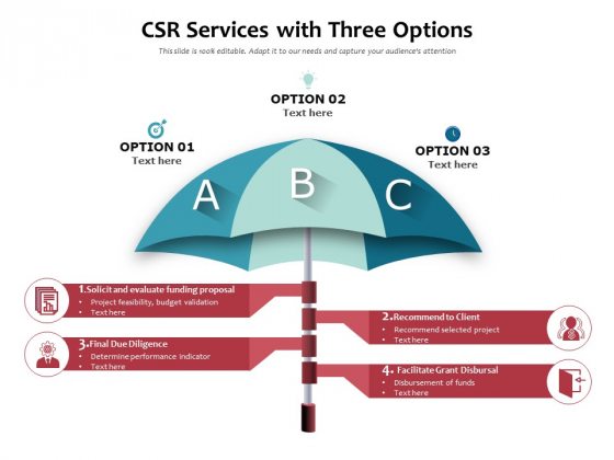 CSR_Services_With_Three_Options_Ppt_PowerPoint_Presentation_Gallery_Model_PDF_Slide_1