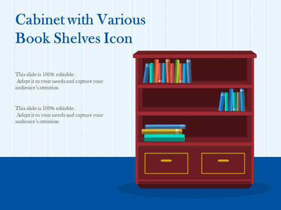 Cabinet With Various Book Shelves Icon Ppt PowerPoint Presentation Professional Inspiration PDF