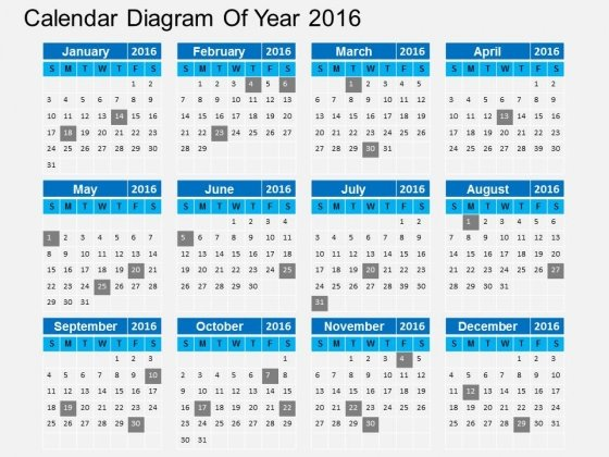 Calendar Diagram Of Year 2016 Powerpoint Templates