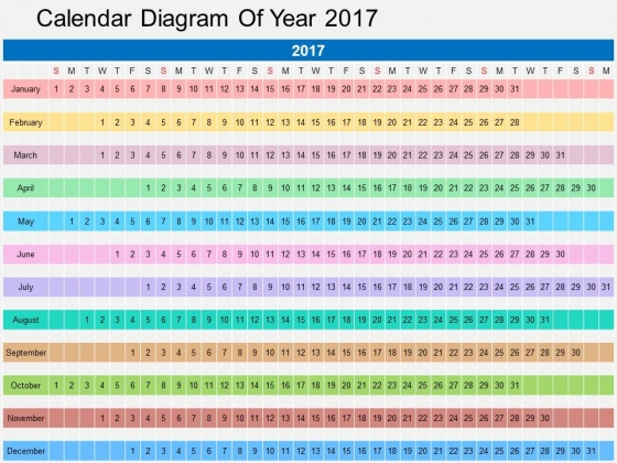 Calendar Diagram Of Year 2017 Powerpoint Templates