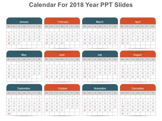 Calendar For 2018 Year Ppt Slides