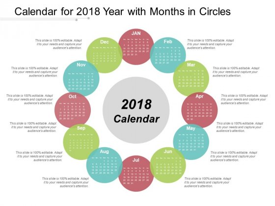 Calendar For 2018 Year With Months In Circles Ppt Powerpoint Presentation Infographic Template Graphics Example