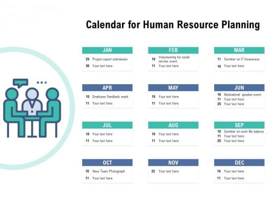 Calendar For Human Resource Planning Ppt PowerPoint Presentation Model Vector