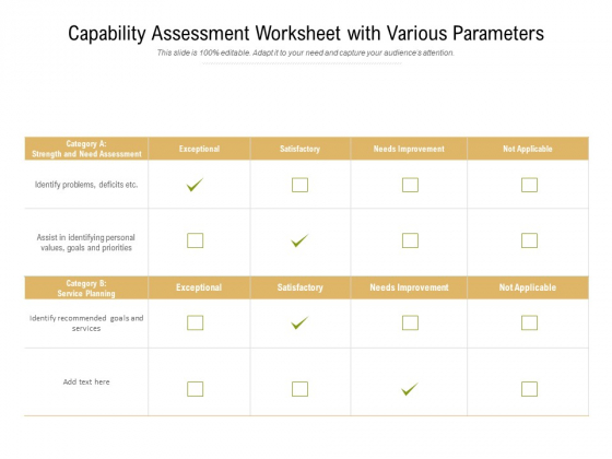 Capability Assessment Worksheet With Various Parameters Ppt PowerPoint Presentation File Slide Portrait PDF