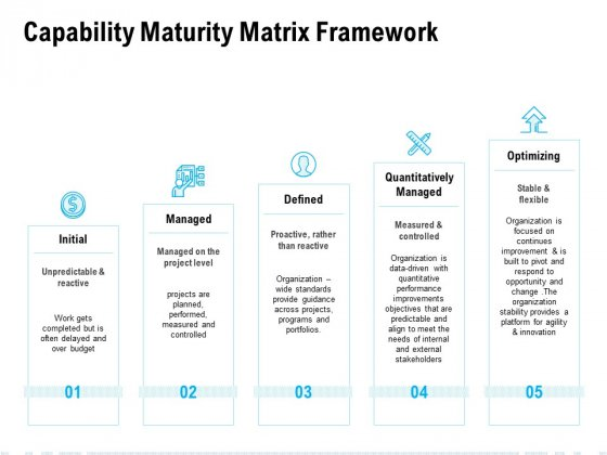 Capability Maturity Matrix Framework Ppt PowerPoint Presentation Summary Graphics Pictures