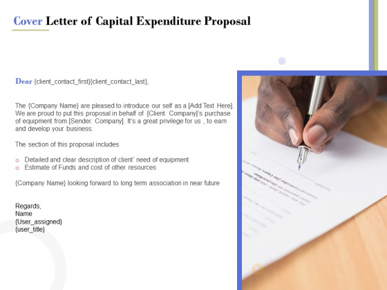 Capex Proposal Template Cover Letter Of Capital Expenditure Proposal Summary Pdf Powerpoint Templates