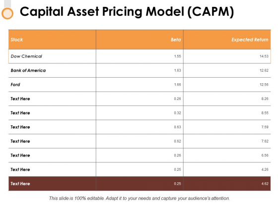 Capital Asset Pricing Model Capm Ppt PowerPoint Presentation Infographics Ideas