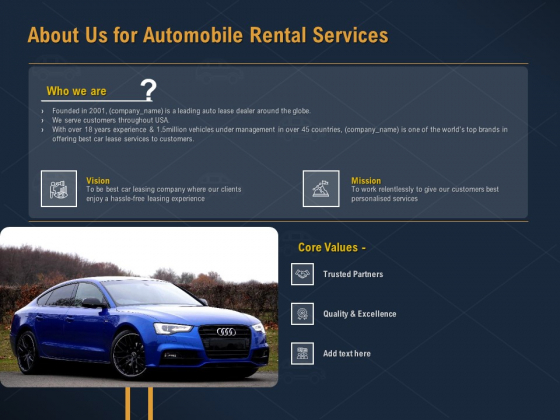 Car Hiring About Us For Automobile Rental Services Ppt Summary Slide Download PDF