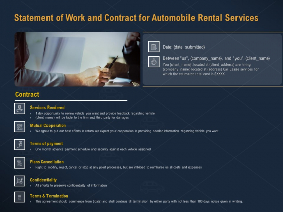 Car Hiring Statement Of Work And Contract For Automobile Rental Services Ppt Portfolio Samples PDF