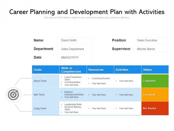 Career Planning And Development Plan With Activities Ppt PowerPoint Presentation File Background Image PDF