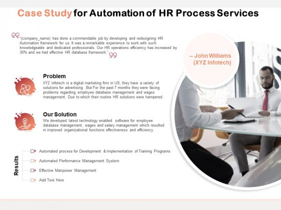 Case Study For Automation Of HR Process Services Ppt PowerPoint Presentation Inspiration Deck PDF