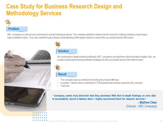 Case Study For Business Research Design And Methodology Services Introduction PDF
