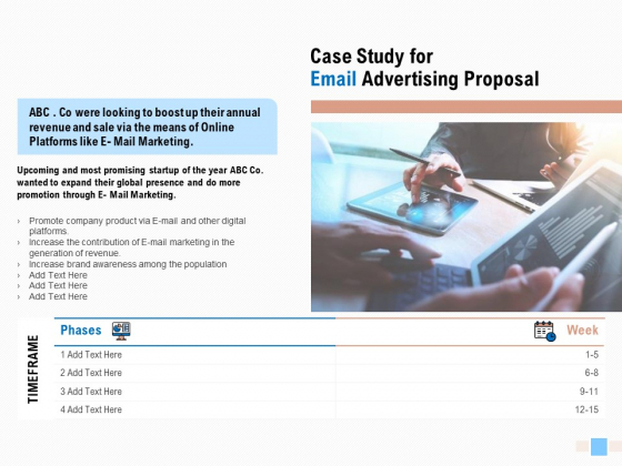 Case Study For Email Advertising Proposal Ppt Infographic Template Design Ideas PDF