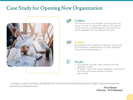 Case Study For Opening New Organization Ppt PowerPoint Presentation Pictures Clipart PDF
