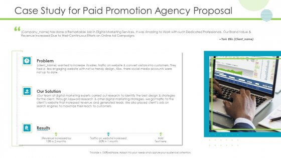 Case Study For Paid Promotion Agency Proposal Summary PDF