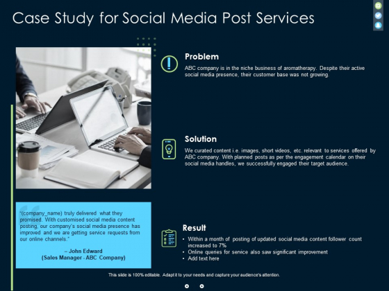 Case Study For Social Media Post Services Ppt PowerPoint Presentation File Designs Download