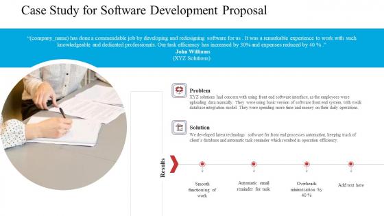 Case Study For Software Development Proposal Ppt Ideas Design Ideas PDF