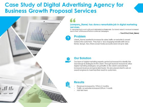 Case Study Of Digital Advertising Agency For Business Growth Proposal Services Ppt PowerPoint Presentation Ideas Summary