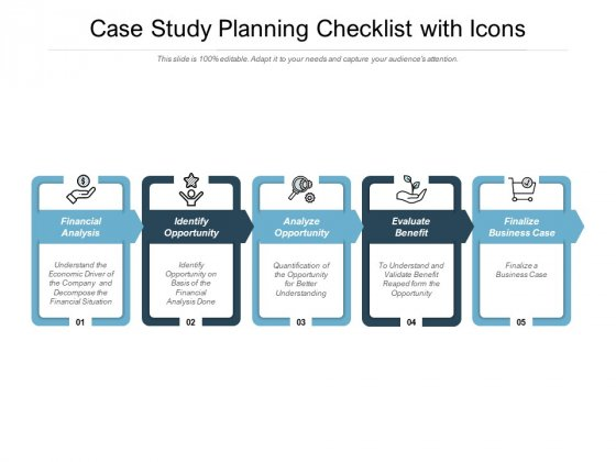 Case Study Planning Checklist With Icons Ppt PowerPoint Presentation Gallery Inspiration