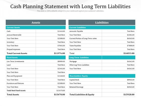 Cash Planning Statement With Long Term Liabilities Ppt PowerPoint Presentation File Templates PDF