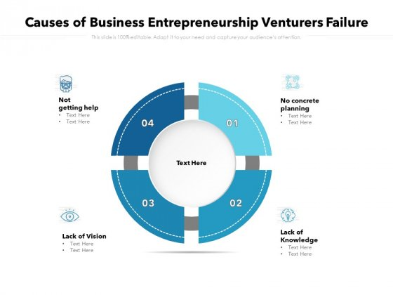 Causes Of Business Entrepreneurship Venturers Failure Ppt PowerPoint Presentation File Clipart PDF