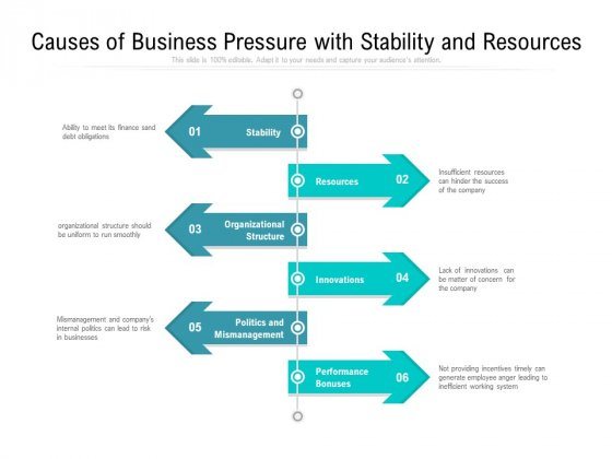 Causes Of Business Pressure With Stability And Resources Ppt PowerPoint Presentation File Portfolio PDF