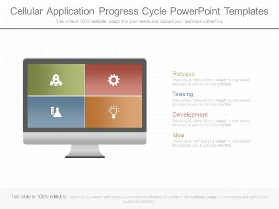 Cellular Application Progress Cycle Powerpoint Templates