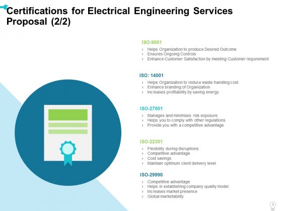 Certifications_For_Electrical_Engineering_Services_Proposal_Cost_Ppt_Outline_Deck_PDF_Slide_1