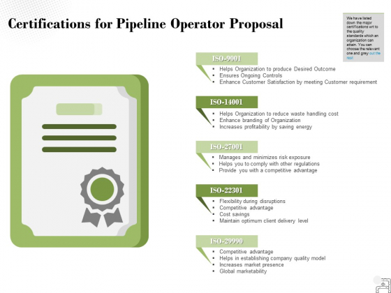 Certifications For Pipeline Operator Proposal Ppt PowerPoint Presentation Pictures Visuals
