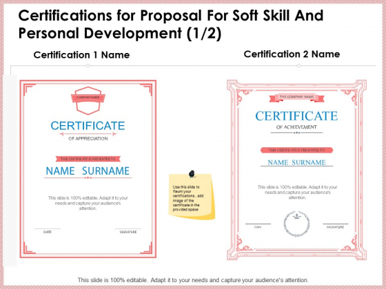 Certifications_For_Proposal_For_Soft_Skill_And_Personal_Development_Graphics_PDF_Slide_1