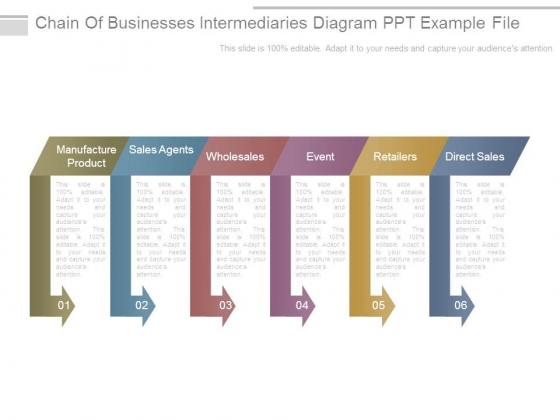 Chain Of Businesses Intermediaries Diagram Ppt Example File