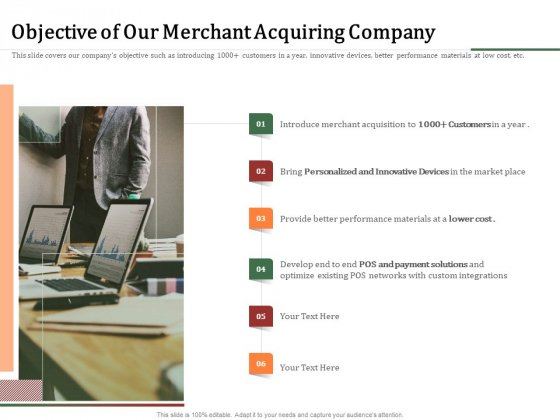 Challenges And Opportunities For Merchant Acquirers Objective Of Our Merchant Acquiring Company Summary PDF