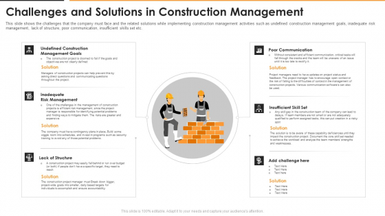 Challenges And Solutions In Construction Management Clipart PDF
