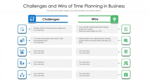 Challenges_And_Wins_Of_Time_Planning_In_Business_Ppt_PowerPoint_Presentation_File_Model_PDF_Slide_1
