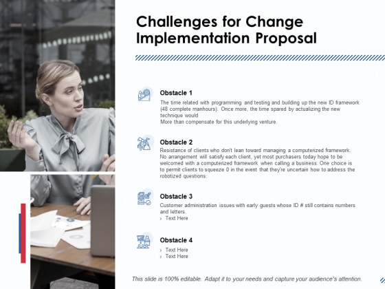 Challenges For Change Implementation Proposal Ppt PowerPoint Presentation Inspiration Designs Download