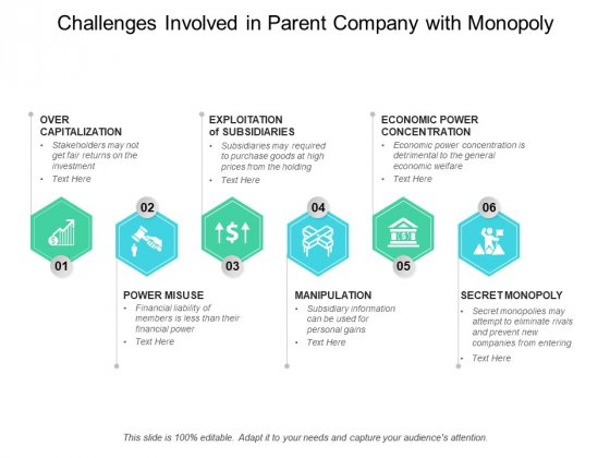 Challenges Involved In Parent Company With Monopoly Ppt PowerPoint Presentation Diagram Ppt