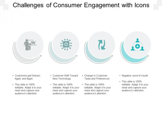 Challenges Of Consumer Engagement With Icons Ppt PowerPoint Presentation Portfolio Infographics