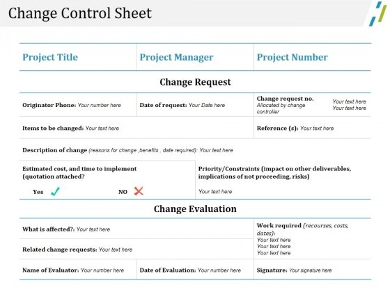Change Control Sheet Ppt PowerPoint Presentation Pictures Format