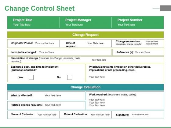 Change Control Sheet Ppt PowerPoint Presentation Portfolio Icons