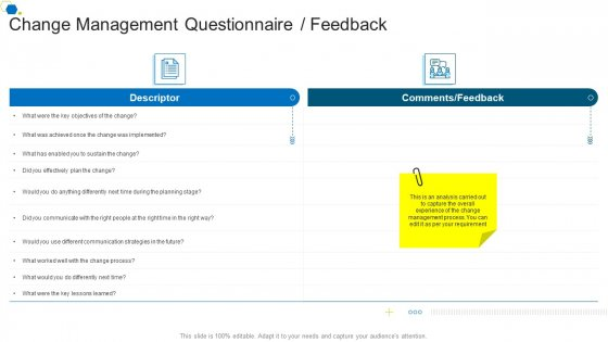 Change Management Questionnaire Feedback Corporate Transformation Strategic Outline Infographics PDF