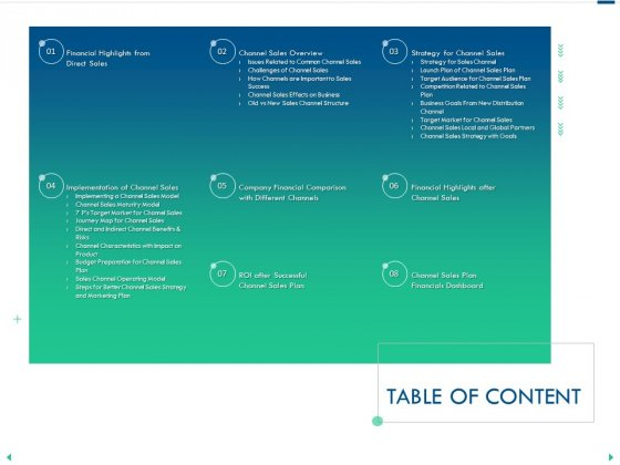 Channel Sales Taking Your Product To Market Table Of Content Ppt Styles Example File PDF