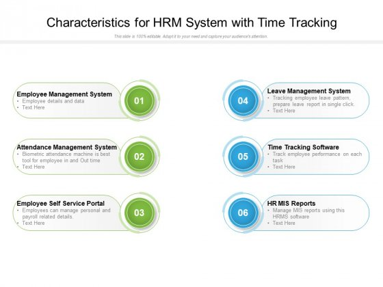 Characteristics For Hrm System With Time Tracking Ppt PowerPoint Presentation Visual Aids Example 2015 PDF